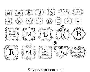 Frames and vignette collection for wedding design, menu card, restaurant, cafe, hotel, jewellery store, logo templates, monogram