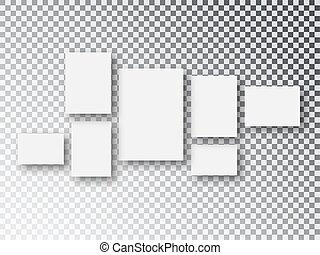 Frames Collage templates parts, picture or illustration. Board and branding Presentation. Blank white 3d paper canvas or photo frames isolated on transparent background