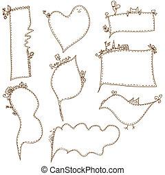 Frames doodle funny set cartoons