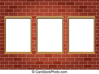 Frames for paintings or photographs on the brick wall background