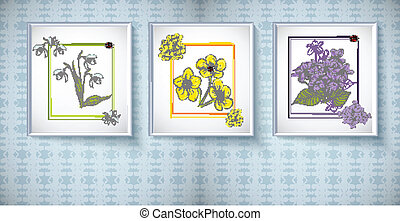 Frames for picture with floral ornaments