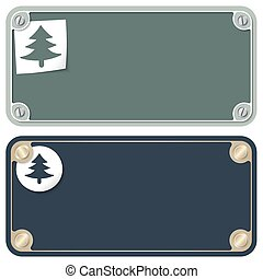 Frames for your text with screws and tree symbol