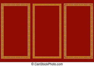 frames., hagyományos, etnikai, állhatatos, keleti, stripes., geometriai, kínai, motívum, függőleges, style., alapismeretek