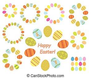 frames of color easter eggs - vector set