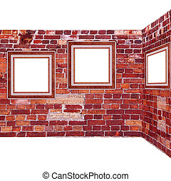 frames old leather on a brickwall