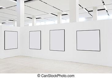 Frames on showroom wall