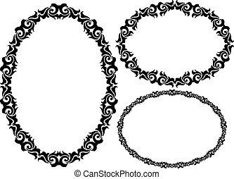 set of oval frame