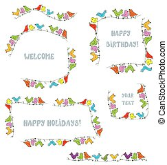 Frames set for events and holidays with funny birds