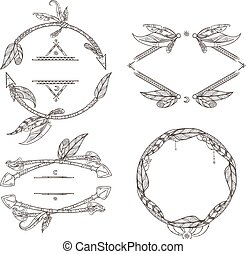 Frames set of feathers arrows and other decorative elements in boho style. Vector illustrations