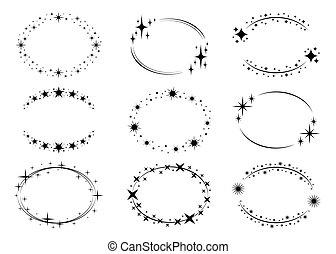 frames., stardust, kränze, template., logo, satz, kreis, ...