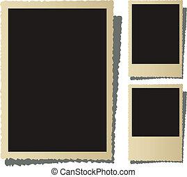 Three old nostalgic picture frame