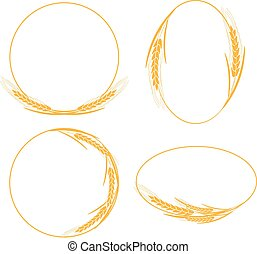 Frames with ears of wheat, barley or rye, vector illustration.