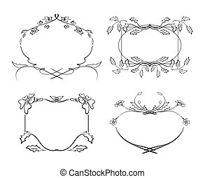 frames with flowers - vector set