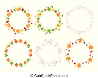 frames with maple leaves and pumpkins - autumn vector set