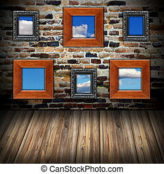frames with sky view on wall
