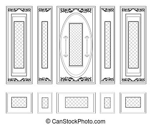 Frames with wainscoting ornament - Vector Wall Frames...