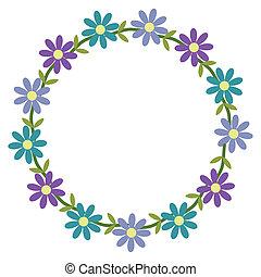 Floral framework with blue and violet flowers