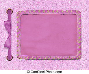 Framework for a photo or invitations. A pink bow. A beautiful background.