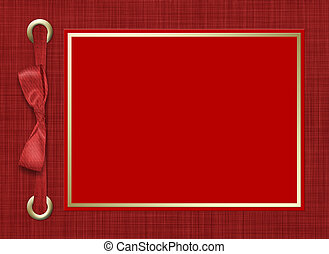 Framework for a photo or invitations. A red bow. A beautiful...