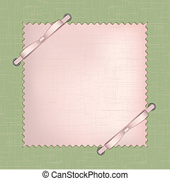 Framework for a photo or invitations with pink bows on green...
