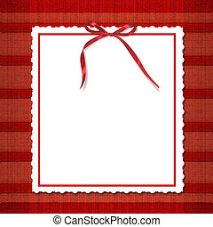Framework for invitations. A red bow. A beautiful tartan background.