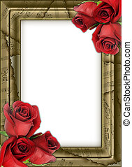 framework for photos with musical notes and roses.
