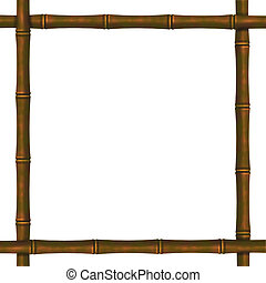 Framework from bamboo branches on a white background