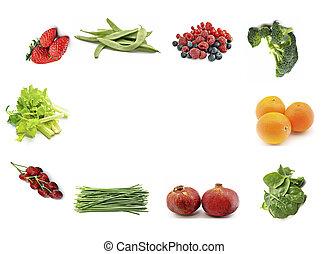 Framework fruits and vegetables, a card