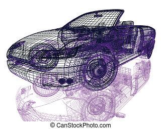framework, i, modeller vogn, på hvide