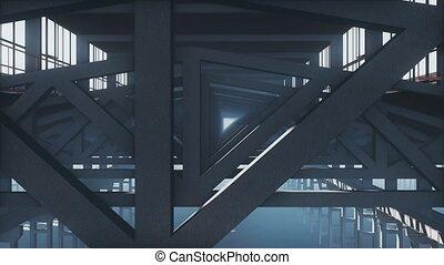 Framework structure industrial background close up - Motion...