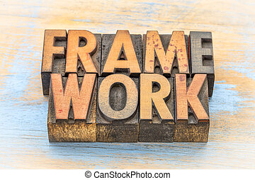 framework word abstract in wood type