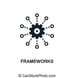 Frameworks icon. Monochrome style design from big data icon collection. UI. Pixel perfect simple pictogram frameworks icon. Web design, apps, software, print usage.