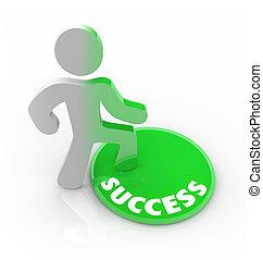 framgång, knapp, -, person, steg, anklagar, man