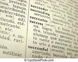 framgång, ord, in, ordbok
