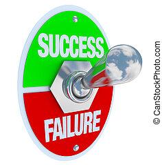 framgång, -, pinne, misslyckande, koppla, vs