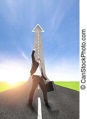 framgång, uppe, resning, bakgrund, affärsman, väg
