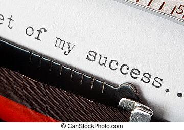 framgång, uttryck, maskinskrivit, på, skrivmaskin