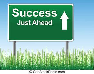 framgång, väg, skylt.