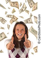 framgångsrik, banknotes), investering, (dollars
