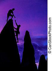 framgångsrik, klättrande, team.