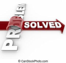 framgångsrik, -, lösning, löst, problem, strömma ut