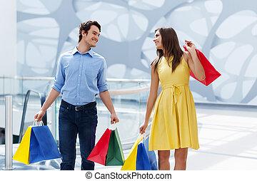 framgångsrik, par, efter, inköp, lycklig