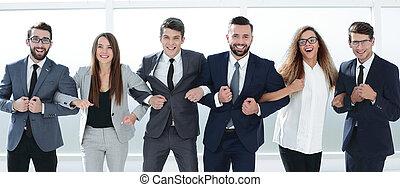 framgångsrik, sammanhållet, affärsverksamhet lag, stående, tillsammans