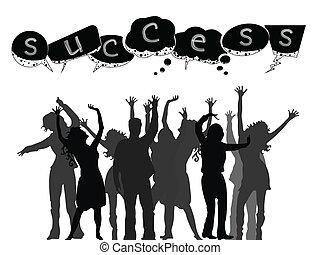 framgångsrik, silhouettes, folk