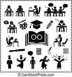 framgångsrik, studera, symbol