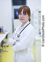 framgångsrik, ung läkare, se, tillitsfull, kvinnlig, stående