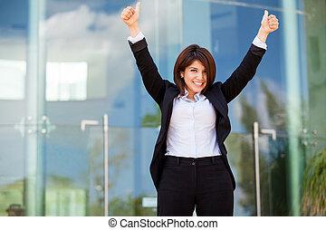 framgångsrik, womanaffär