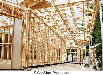 framing., färsk, konstruktion, hem