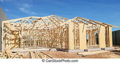 framing., nowy, zbudowanie, dom