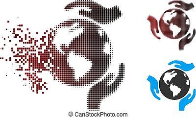 frammentato, halftone, protezione, terra, pixel, icona
